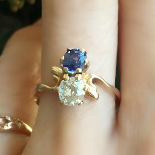 Old Mine cut Diamond & Sapphire Toi et Moi Ring