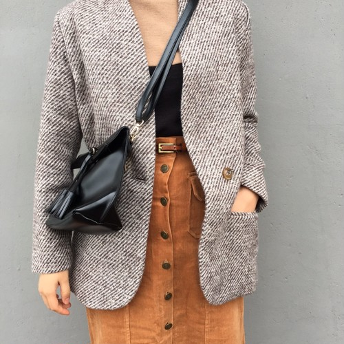 no collar wool jacket