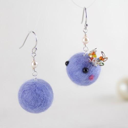 癒し♪まんまるcororinピアス(紫)