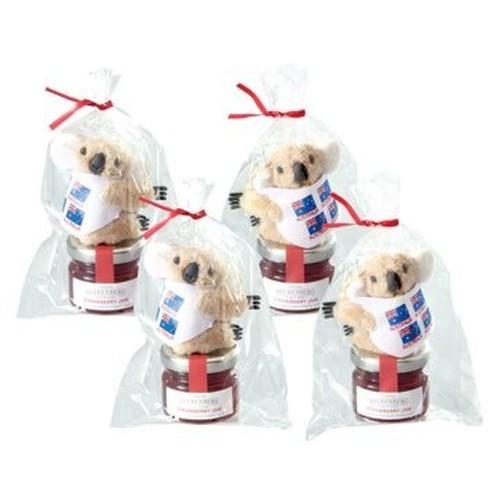 包装ラッピングサービス!オーストラリアお土産   コアラ マスコットクリップ&ビアレンバーグ イチゴジャム 4袋セット