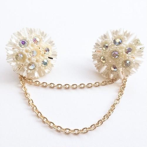pearl & aurora flower sweater clip[s-193]