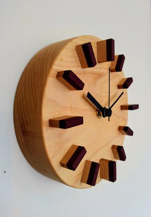 無垢材 小さな掛け時計④ (丸)