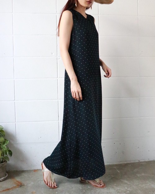 Ralph Lauren dot long flare dress