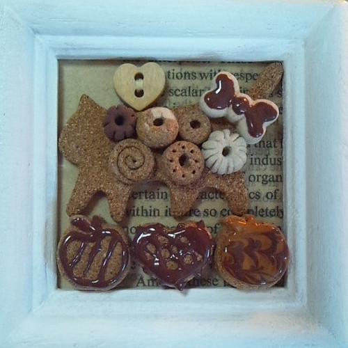 粘土ミニコラージュ額 ねこクッキー