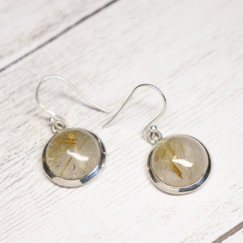 Gem Earrings(Gold Rutilated Quartz)