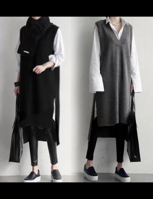 予約注文商品 ニットロングベスト ベスト ニットベスト 韓国ファッション