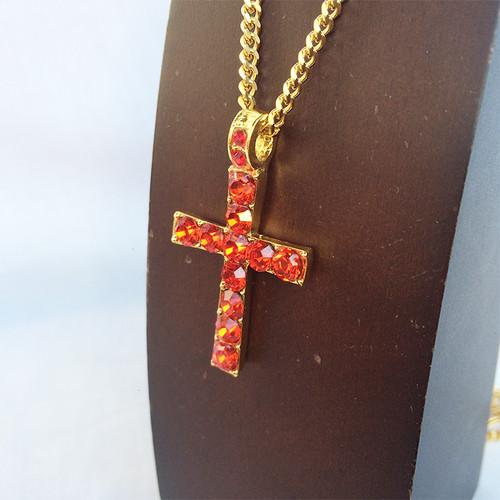 ジルコニア クロス 十字架 ブリンブリン 金 ゴールド レッド 1290
