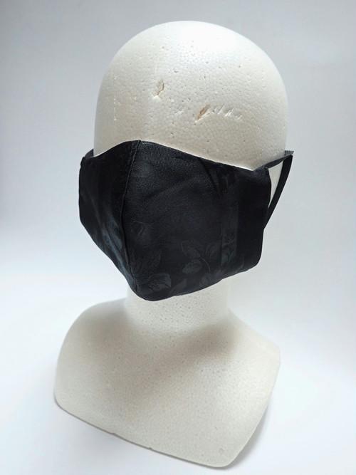 リユース可 黒薔薇ジャガードの立体布マスク 交換式 黒