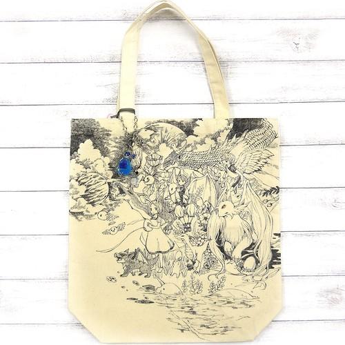 【嶋波誌麻×ミズイロ】月夜のドラゴンたち(Mサイズ)/手描きトート