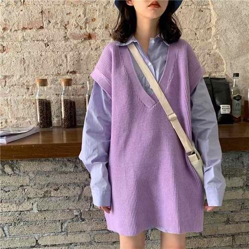 【送料無料】 春色ワントーンコーデ♡ オーバーサイズ ビッグシャツ ブラウス × ニット ベスト セットアップ