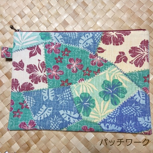 Hawaiian zipper flat pouch /パッチワーク