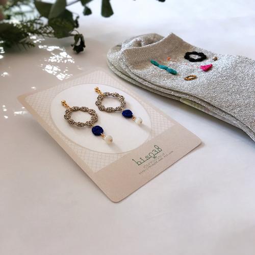 【bisQ38】スペシャルセット★糸編みモチーフ靴下&耳飾り⑧(ピアス⇔イヤリング変更可)