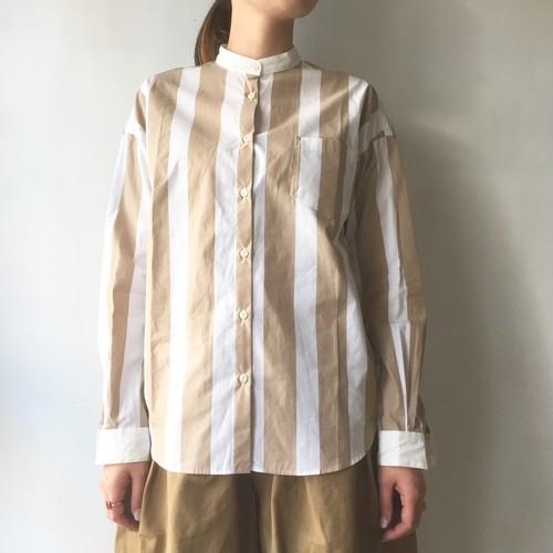 soi-e バンドカラーストライプシャツ ベージュ