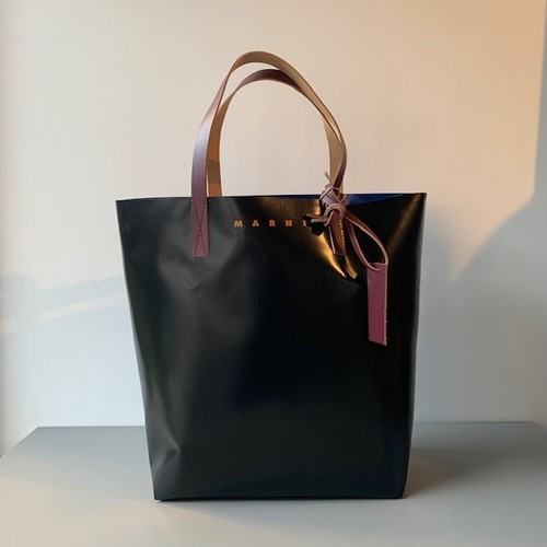 MARNI PVC SHOPPER BAG BLACK/BLUE