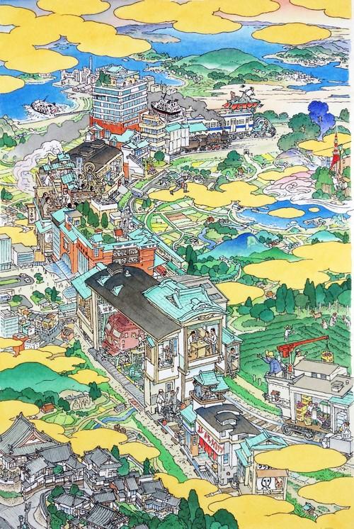 山口晃 版画作品「島尽鐵道圖  ed./100」