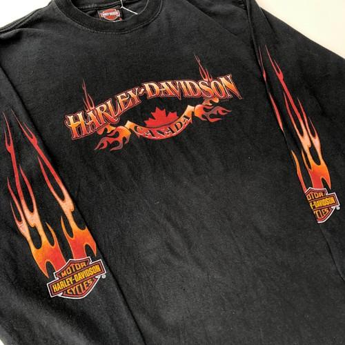 00's 2005年製 ハーレーダビッドソン ファイヤーパターン Tシャツ 黒 ブラック Lサイズ ロンT 長袖Tシャツ 袖フレイムス
