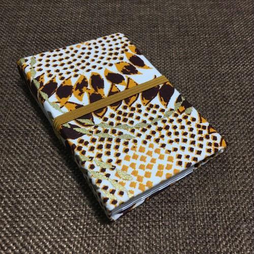 カードケース 西アフリカ ファブリック「ひまわり」ブラウン×オレンジ×ホワイト (日本製)アフリカ エスニック バティック パーニュ 名刺入れ 診察券入れ 24