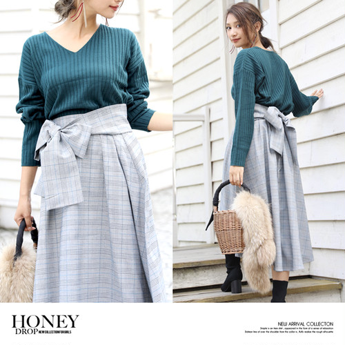 【即納】glen check longskirt