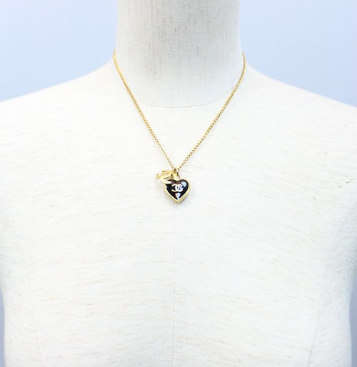 .CHANEL 02 P COCO MARC HEART NECKRACE MADE IN FRANCE/シャネルココマークハート型ネックレス 2000000029825