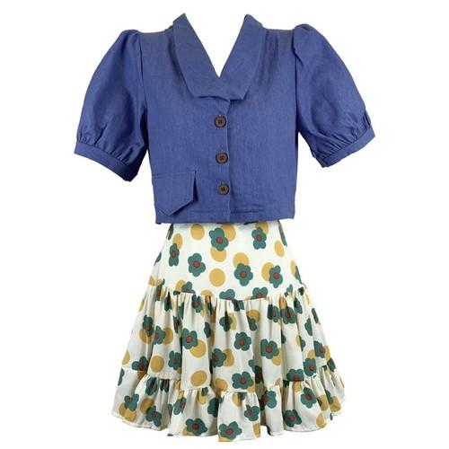 レディース 可愛い オシャレ シャツ スカート 花柄 トレンド 2点セット セットアップ