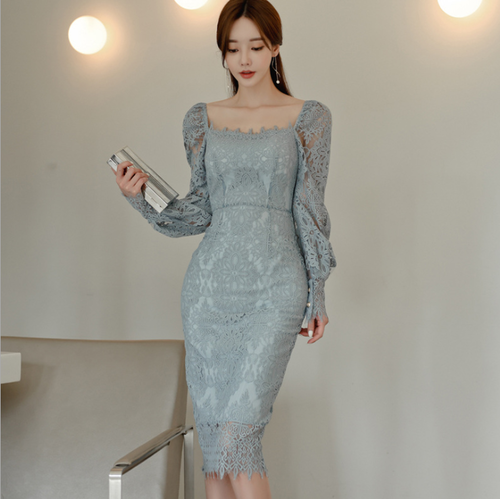 【dress】エレガント気質満点 レースデートワンピースフェミニン合わせやすい