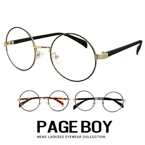 ダテ眼鏡 py6410 UVカット ラウンド型 クリアサングラス ページボーイ 伊達メガネ レディース メンズ 丸眼鏡 丸メガネ
