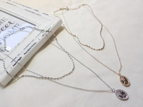 予約注文商品 メダリオン2チェーンネックレス ネックレス 韓国ファッション