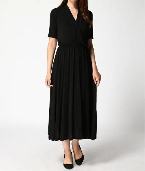 DRESドレス ニットジャージーロングワンピース/ブラック