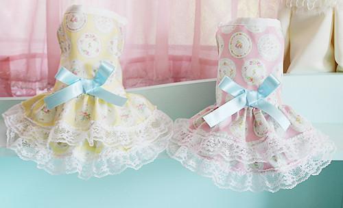 ★かわいい犬服ワンピ/ドレス  フローラルディッシュワンピ