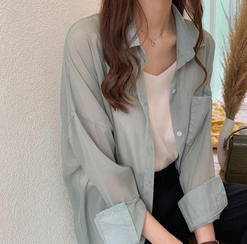 3色 大きいサイズ シアーシャツ ブラウス トップス 羽織 ビッグシルエット シースルー ゆったり シャーベットカラー 大人可愛い カジュアル シンプル 韓国 オルチャン ファッション