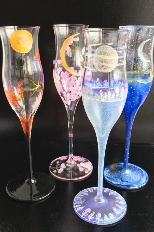 【日本の四季】夜空月見グラス1個|父の日ギフト・結婚祝い・敬老の日・両親プレゼント・還暦祝い・退職祝い・誕生日プレゼント・外国人プレゼント