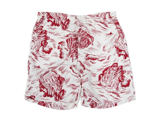 HAWAIIAN SHORTS WHITE×RED
