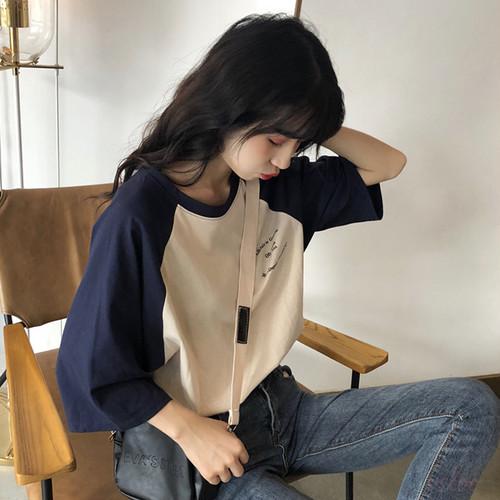 【トップス】スウィートドロップショルダー配色プリントTシャツ