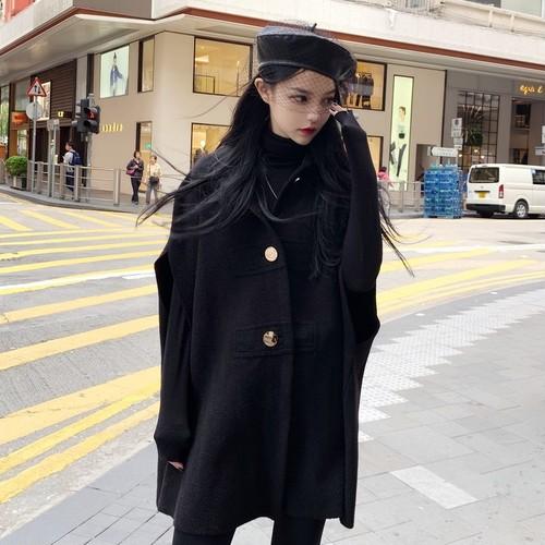 【アウター】ファッションフェミニン折襟秋冬ブラックラシャコート
