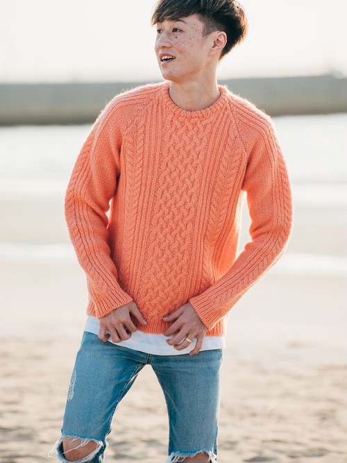 【11/25(wed)21:00 販売開始】ThreeArrows Wool Knit (salmon pink)