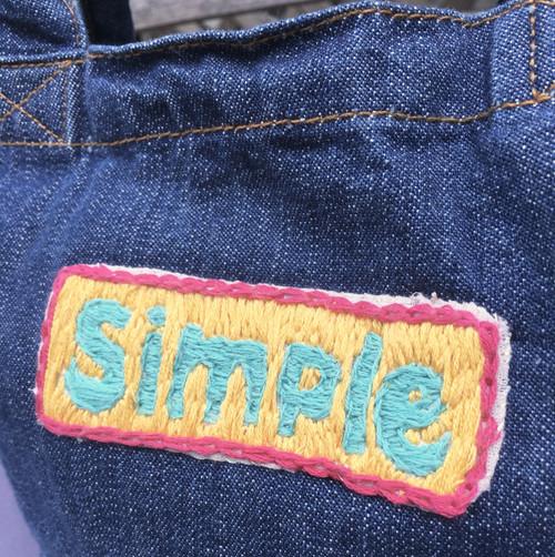 """Mahalo11Original☆ Denim tote bag""""Simple"""""""