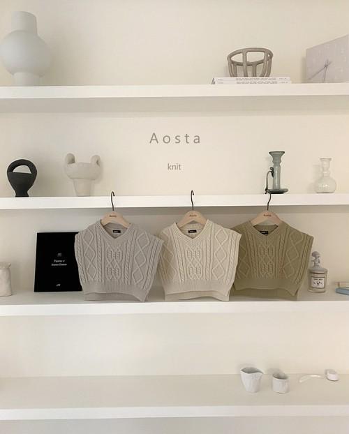 『翌朝発送』tweed knit vest〈Aosta〉