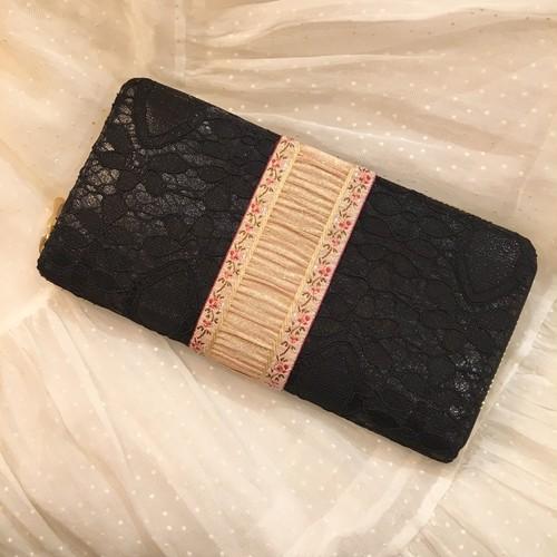 Lace&Ribbon tape long wallet/White