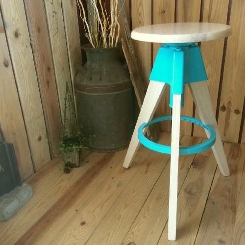 ≫モダンナチュラル*丸椅子ハイスツール1脚*高さ調節可*木ウッド×プラスチック*回転イスいすバーカウンターチェア自然天然インテリア