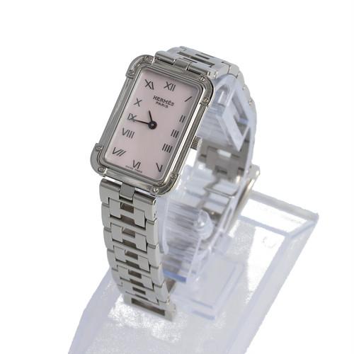 HERMES エルメス  CR2.210 クロアジュール レディース クォーツ 腕時計 SS ピンク シェル文字盤