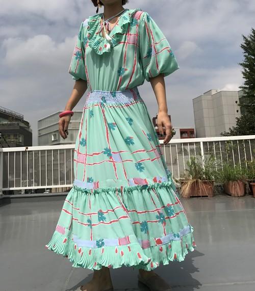 Diane freis mint green Floral print Dress