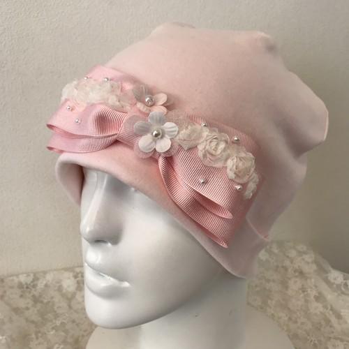 薔薇チュールとお花のケア帽子 ピンク⑤