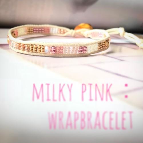 milky pink:wrap bracelet