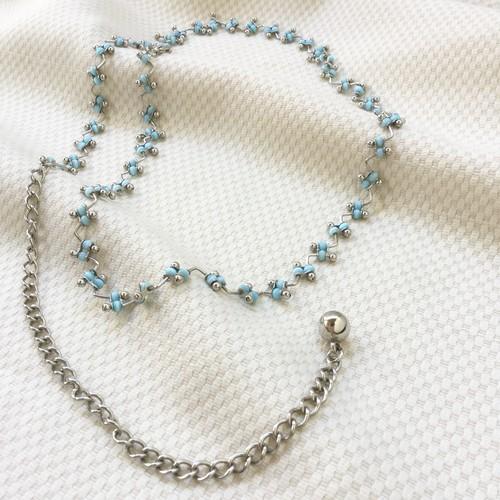 60s-70s vintage belt sapphire blue