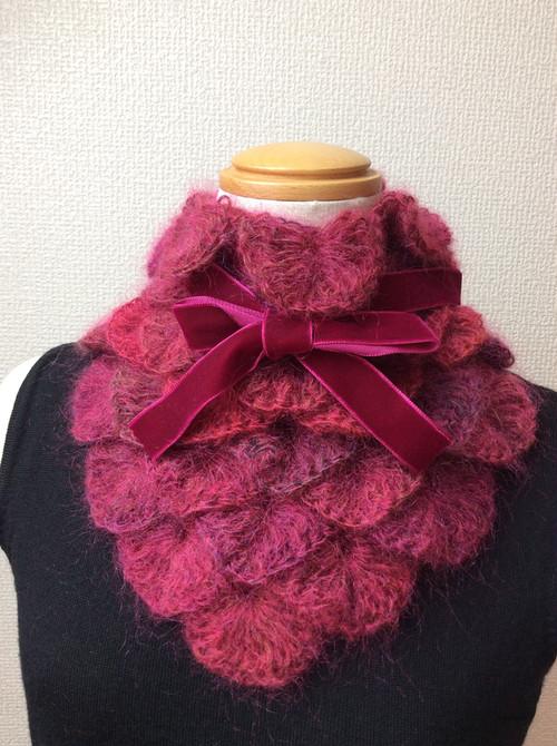 【受注販売】うろこ編みのサンカクミニマフラー