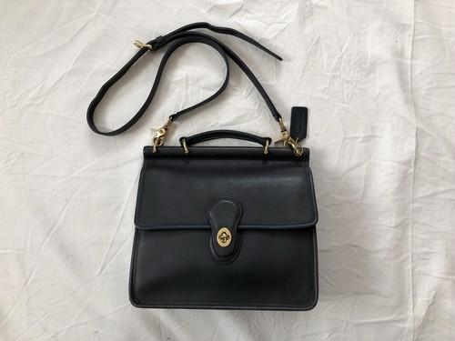 "AMERICA 1990's OLD COACH ""Dark Navy Leather"" 2WAY bag"