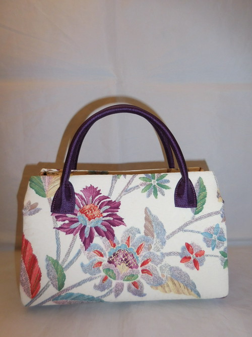 花柄オリエンタル着物地バックAntiques kimono fabric bag(flower) made in Japan