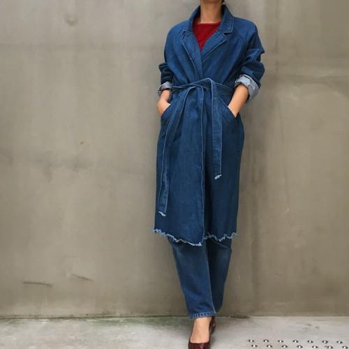 dead stock denim gown coat
