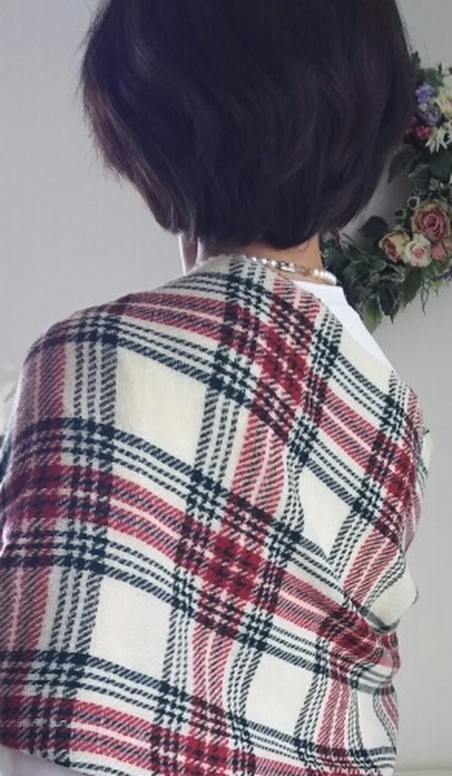 手織り*カシミヤタータンチェックストール 146