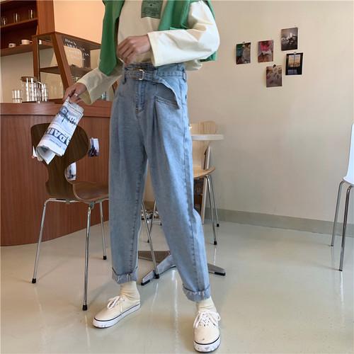 ウエストベルトマムデニムパンツ デニム ジーンズ マム 韓国ファッション